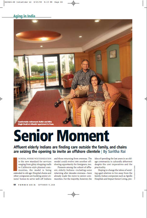 Published in Forbes Asia, Story on elderly living